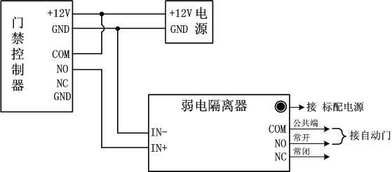 自动门禁系统弱电隔离器接线图